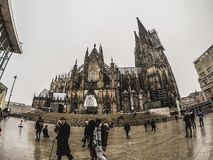The Cologne Cathedral and people around stock image