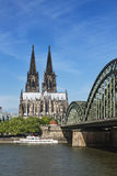 Cologne Cathedral And Rhine River, Germany Stock Image