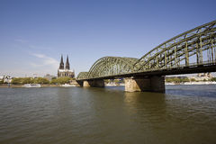 Cologne cathedral, river rhine Stock Image