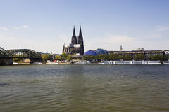 Cologne cathedral and the river rhine Stock Image