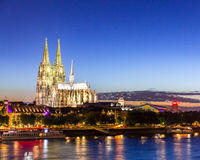 Cologne Cathedral River Rhine Royalty Free Stock Images