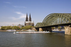 Cologne cathedral, river rhine, hohenzollern bridg Royalty Free Stock Images