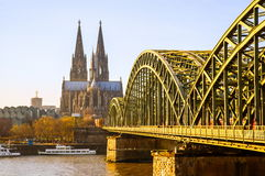 Cologne Cathedral and river Rhine Royalty Free Stock Image