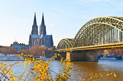 Cologne Cathedral and river Rhine Stock Images