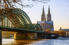 Cologne Cathedral and river Rhine Stock Photo