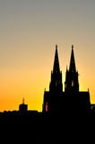Cologne cathedral silhouette. Between sunset stock photography