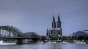 Cologne Cathedral Sunset. HDR Time lapse Riverside view of the Cologne Cathedral and railway bridge over the Rhine river, Germany stock video