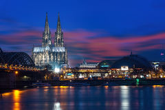 Cologne cathedral sunset Royalty Free Stock Image