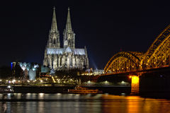 Cologne cathedral, and surroundings by night Royalty Free Stock Image