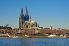 Cologne cathedral, view from across the Rhine Royalty Free Stock Photography