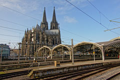 Cologne Cathedral, view from the railway station Royalty Free Stock Photos