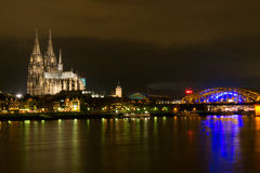 Cologne Catheral and Skyline at Night Royalty Free Stock Photography