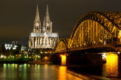 Cologne Catheral and Skyline at Night Royalty Free Stock Image