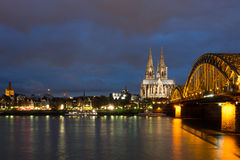 Cologne Catheral and Skyline at Night Stock Photo
