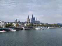 Cologne center and Rhine river. stock images