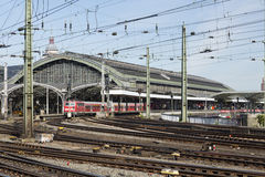 Cologne Central Station and a train, Germany, editorial Stock Photography