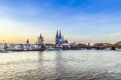 Cologne city line. Cologne skyline with dome and river Rhinecity line Stock Photography