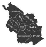 Cologne city map Germany DE labelled black illustration. Cologne city map Germany DE labelled black Stock Photos