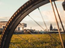 Cologne cityscape with Cologne Cathedral, Rheinauhafen and Crane royalty free stock photography