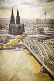Cologne cityscape with Rhine river and famous cath Stock Image