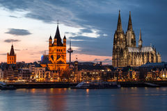 Cologne cityscape after sunset Royalty Free Stock Photos