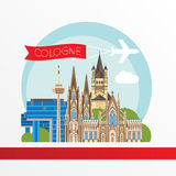 Cologne detailed silhouette. Trendy vector illustration, flat style. Stylish colorful  landmarks. Royalty Free Stock Photo