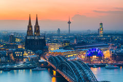 Cologne at dusk. Aerial view on Cologne at dusk Stock Image