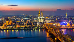 Cologne at dusk Stock Photos