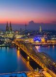 Cologne at dusk Royalty Free Stock Photo