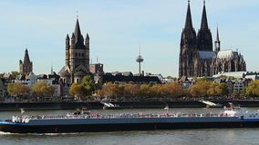 Cologne establish city shot Rhine river ship Cathedral tourism. Stock footage stock footage