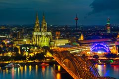 Cologne, Germany aerial overview. After sunset royalty free stock images