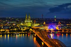 Cologne, Germany aerial overview. After sunset stock photography