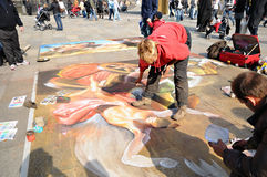 Street artists produce a beautiful painting Royalty Free Stock Image
