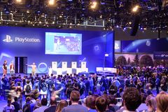 Playstation presentation of the company Sony in front of a crowd Royalty Free Stock Photo