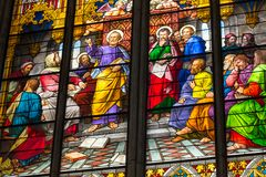 COLOGNE, GERMANY - AUGUST 26: Stained glass church window with Pentecost theme in the cathedral on August 26, 2014 in Cologne Royalty Free Stock Image