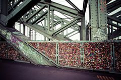 COLOGNE, GERMANY - AUGUST 26, 2014, Thousands of love locks which sweethearts lock to the Hohenzollern Bridge to symbolize their l Royalty Free Stock Photos