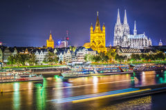 Cologne, Germany. Cityscape over the Rhine River Stock Photography