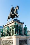 Equestrian statue on the Heumarkt in Cologne, Germany. Cologne, Germany - February 24, 2018: equestrian statue on the Heumarkt in Cologne. Heumarkt is the second Stock Photos