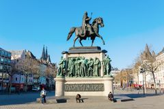 Equestrian statue on the Heumarkt in Cologne, Germany. Cologne, Germany - February 24, 2018: equestrian statue on the Heumarkt in Cologne, with unidentified Stock Photos