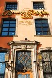 Facade of the Paeffgen pub in the old town of Cologne, Germany. Cologne, Germany - February 24, 2018: facade of the Paeffgen pub in the old town of Cologne. The Stock Images