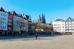 Cityscape at the Heumarkt in Cologne, Germany. Cologne, Germany - February 24, 2018: Heumarkt in Cologne, with unidentified people. Heumarkt is the second Royalty Free Stock Images