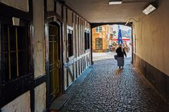 Passage to the Heumarkt in the old town of Cologne, Germany. Cologne, Germany - February 24, 2018: passage to the Heumarkt in the old town of Cologne. With a Royalty Free Stock Images