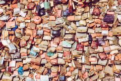 COLOGNE, GERMANY - FEBRUARY 19, 2018: Thousands of love locks which sweethearts lock to the Hohenzollern Bridge to symbolize royalty free stock photography