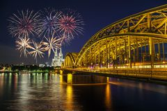 Fireworks Celebration - Cologne - Germany. Fireworks Celebration at Cologne Cathedral and Hohenzollern Bridge, Cologne, Germany Royalty Free Stock Photography