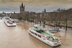 Flood on Rhine river, Cologne, Germany Stock Photo