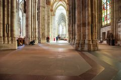 Visitors indoor Cologne Cathedral Kolner Dom royalty free stock photo