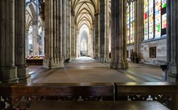 Visitors inside of Cologne Cathedral royalty free stock image