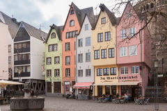 COLOGNE, GERMANY - MARCH 6, 2015: Colorful houses in Old Town on Rhine River Embankment, Cologne, Germany Royalty Free Stock Photography