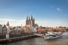 COLOGNE, GERMANY - MARCH 7, 2015: Great St. Martin Church And Dom In Cologne at River Rhine. Royalty Free Stock Photos