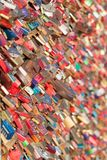 COLOGNE, GERMANY - MARCH 7, 2015:  Love padlocks on the Hohenzollern Bridge in Cologne in Koln , Germany. Declarations of Love. COLOGNE, GERMANY - MARCH 7, 2015 Stock Photos
